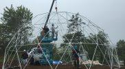 びわこ箱館山ゆり園様での10mドームテント施工